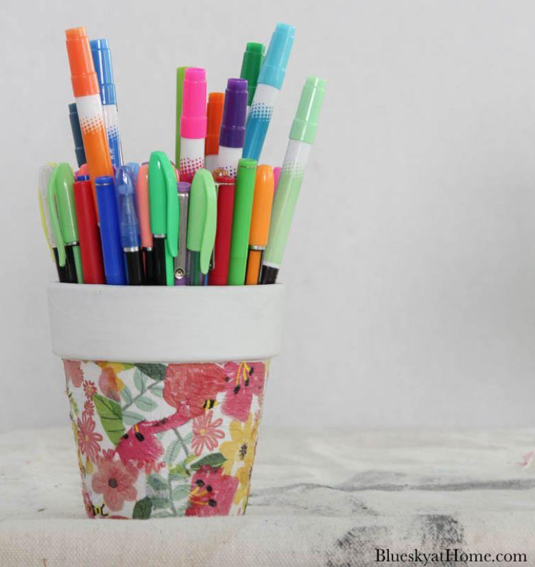 Decoupage flower pot craft