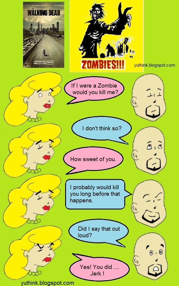 funny comic image kill zombie wife