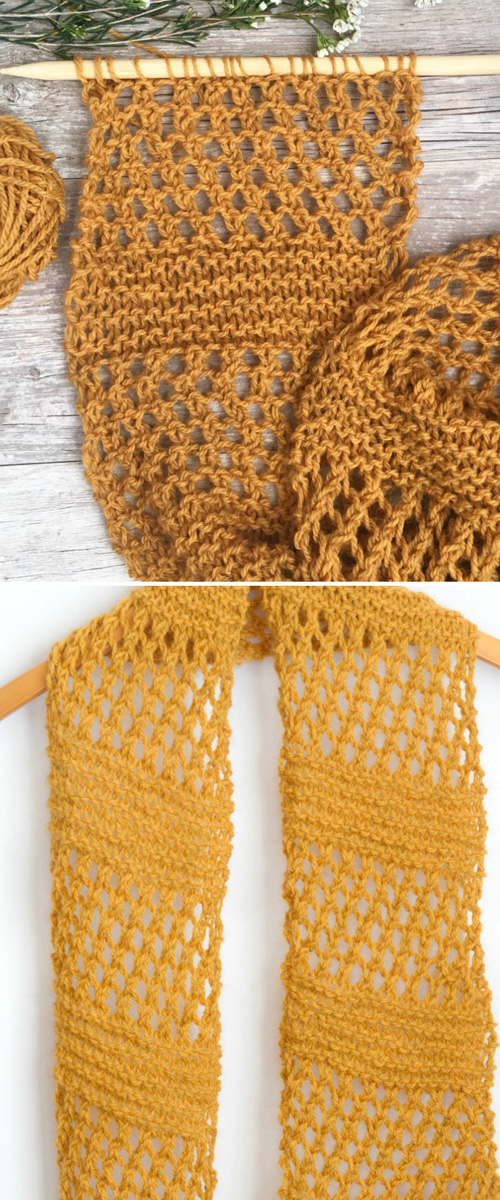 How to Knit Easy Summer Honeycombs Scarf - Tutorial