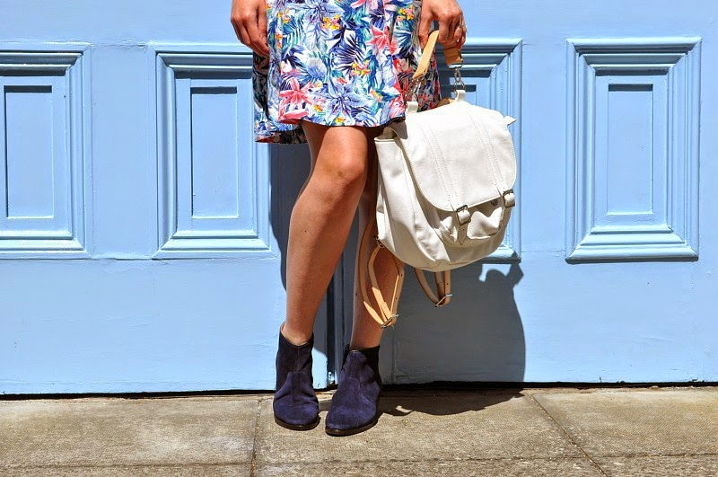 Boden Blue Suede Boots and white backpack from Kin John Lewis