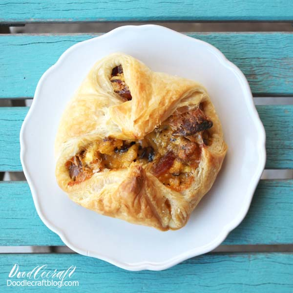 Puff Pastry egg sausage cheese breakfast cup