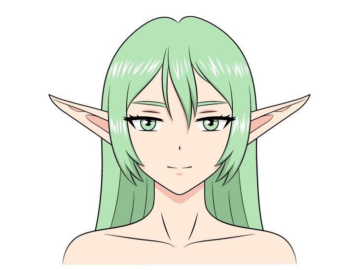 Gadis anime elf menggambar