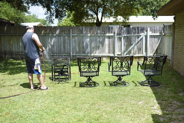 Instead of buying a new patio set, breathe new life into your current one in just a few hours for about $50. Save money for that vacation you keep putting off.