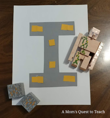 Letter I craft with Iron Golem and Iron Ore Minecraft toys