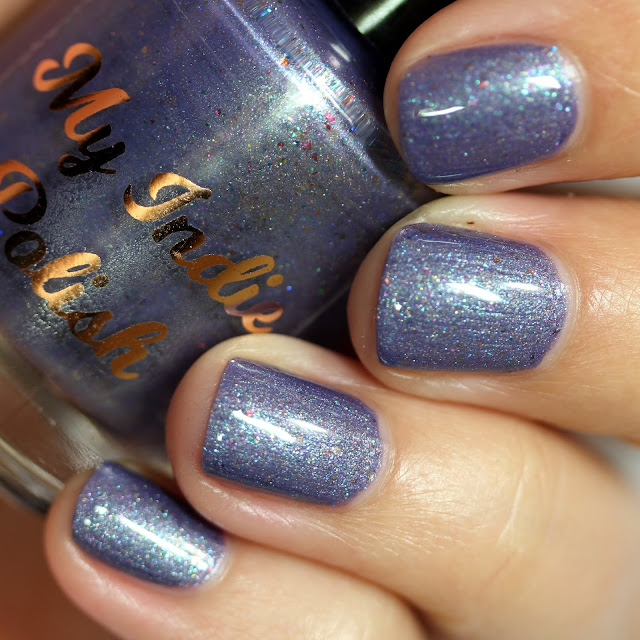 dusty purple shimmer nail polish with holo shimmer