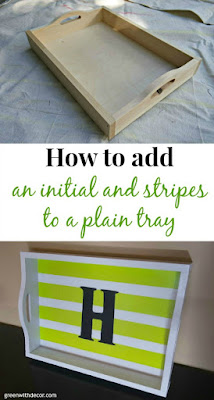 How to add an initial and stripes to a plain tray
