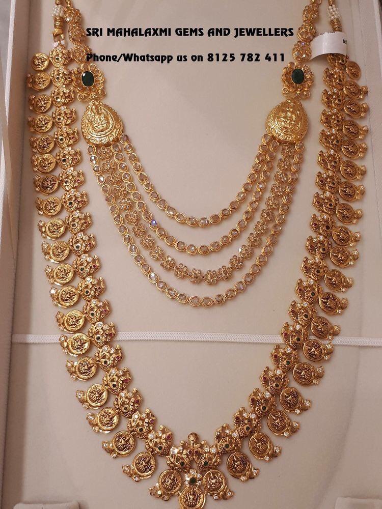 Lakshmi Long Set Uncut Diamond Necklace Jewellery Designs
