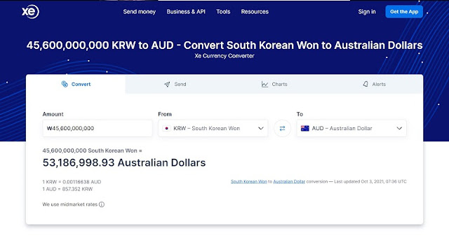 Korean Won to Australian dollar conversion