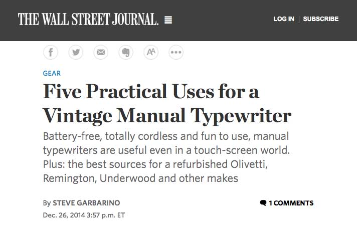 http://www.wsj.com/articles/five-practical-uses-for-a-vintage-manual-typewriter-1419627431