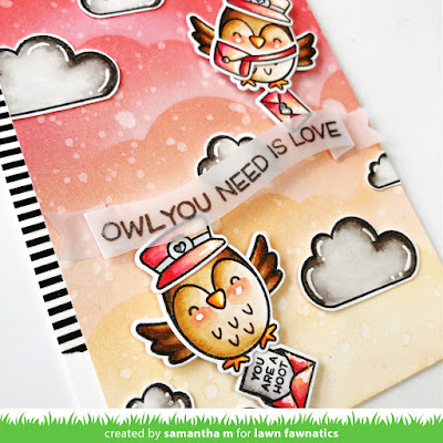Owl You Need is Love Card by Samantha Mann, Lawn Fawn, Lawn Fawnatics, Valentine's Day Card, Love Card, Owls, Distress Inks, Ink blending, Heat Embossing, Die Cuts, sky, Card Making, Cards, #lawnfawn #lawnfawnatics #valentinesday #cards #cardmaking #heatembossing #diecuts