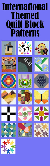 International themed quilt blocks