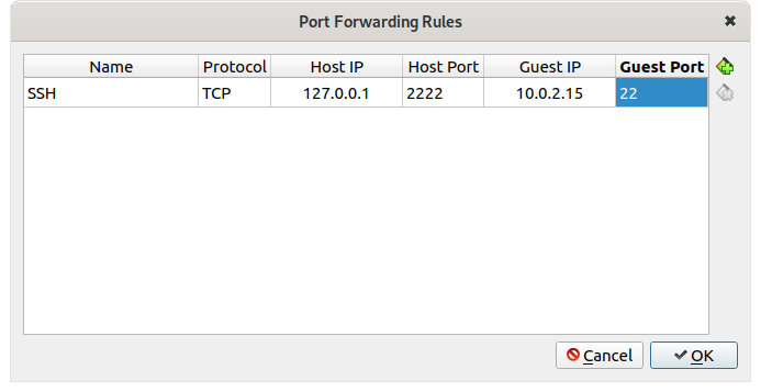 Figure 10: Setting SSH rule for NAT with port forwarding