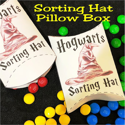 Let the Sorting Hat decide which Hogwarts House you are from with this printable Hogwarts Sorting Hat pillow box.  Simply fill this box with colored candy and let your guests choose which House they are from at your next Harry Potter party.