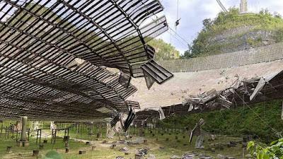 Enorme rádio telescópio de Arecibo sofre mais danos com incidente de  cabo