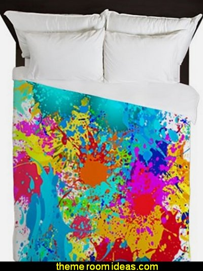 Splat Vertical Queen Duvet  Splatter Paint Bedroom ideas -  splatter paint bedding - splatter paint theme bedroom decorating ideas - paint splatter decorations - Splatter paint rugs -  Splatter paint throw pillows - art bedrooms - splatter paint bedrooms
