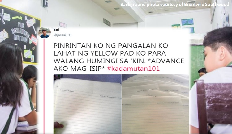 #Kadamutan101: Student prints name on his yellow pad paper to lessen giveaways