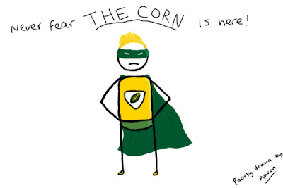 An illustration of a super hero called The Corn