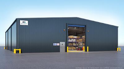 Perspective 3d extérieure entrepôt