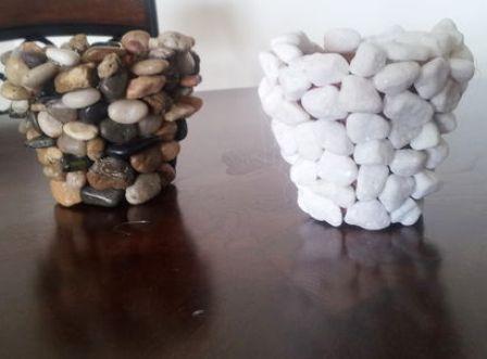 3 kerajinan tangan pot batu hias