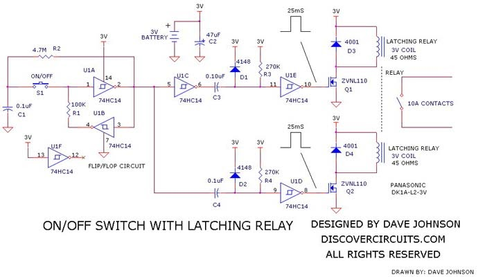 Latching Relay OnOff Switch Circuit