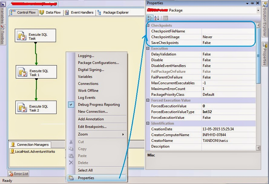 satish msbi world check points in ssis with example