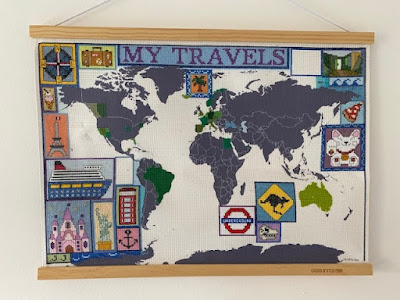 Cross stitch travel map in progress