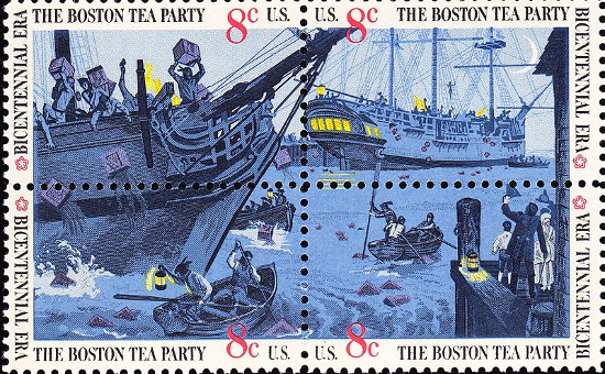 US Postage stamps of Boston Tea Party (July 4th, 1973)