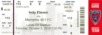 Indy Eleven ticket from the 2019 season