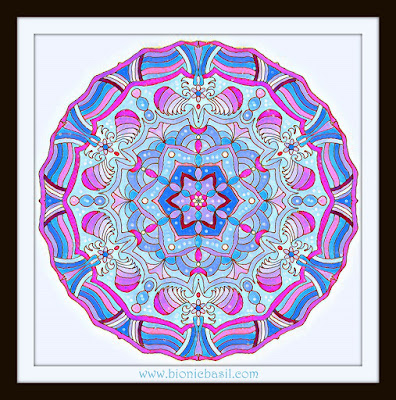 Colouring with Cats ~ Getting Your OM on with Mandalas on Mondays ©BionicBasil® Mandala #89 Coloured by Cathrine Garnell 15-9-19