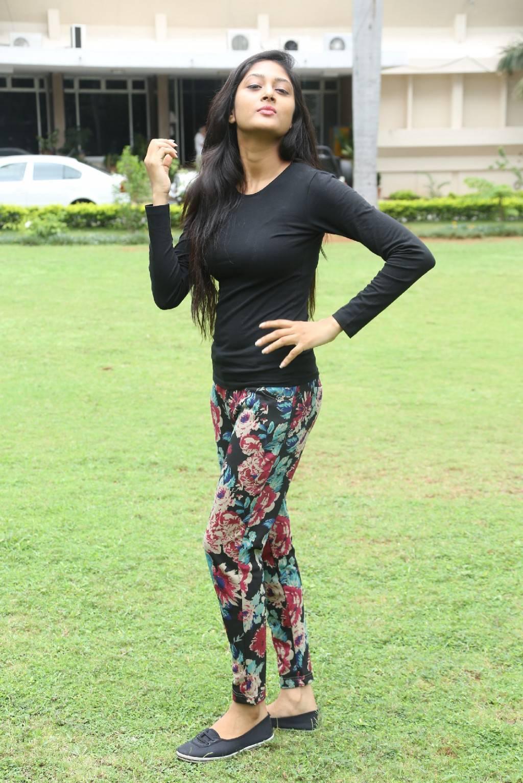 Indian Hot Girl Sushma Raj Long Hair Photos In Black Dress At Movie Press Meet