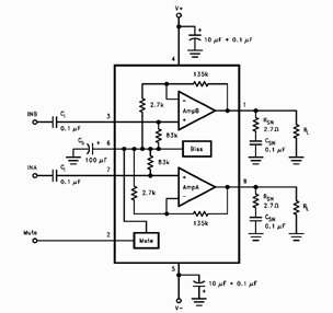 LM4755 Audio Power Amp Test Circuit and Datasheet