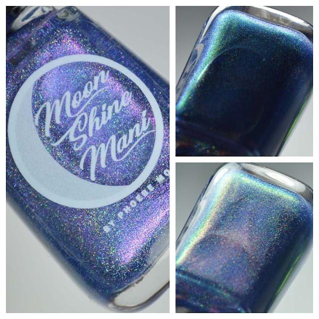 indigo holographic nail polish in a bottle