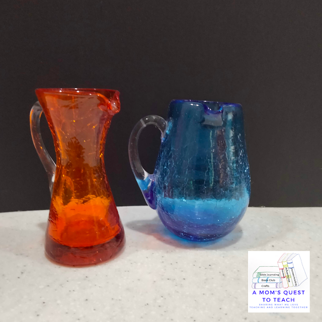A Mom's Quest to Teach logo; Red and Blue vases. Sharing some collectable vases