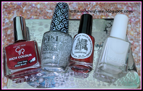 Golden Rose Rich Color #45, OPI Glitter To My Heart, El Corazón The Paradise and Pastel #04