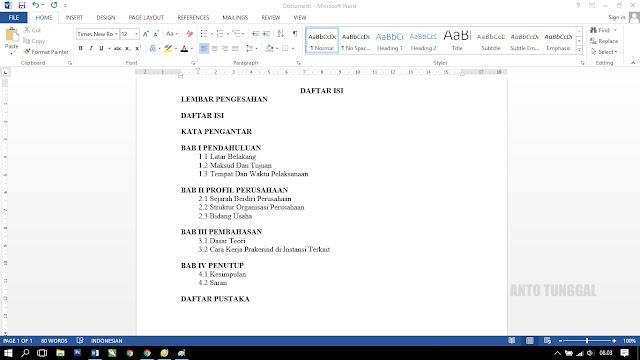 Cara membuat daftar isi titik-titik otomatis