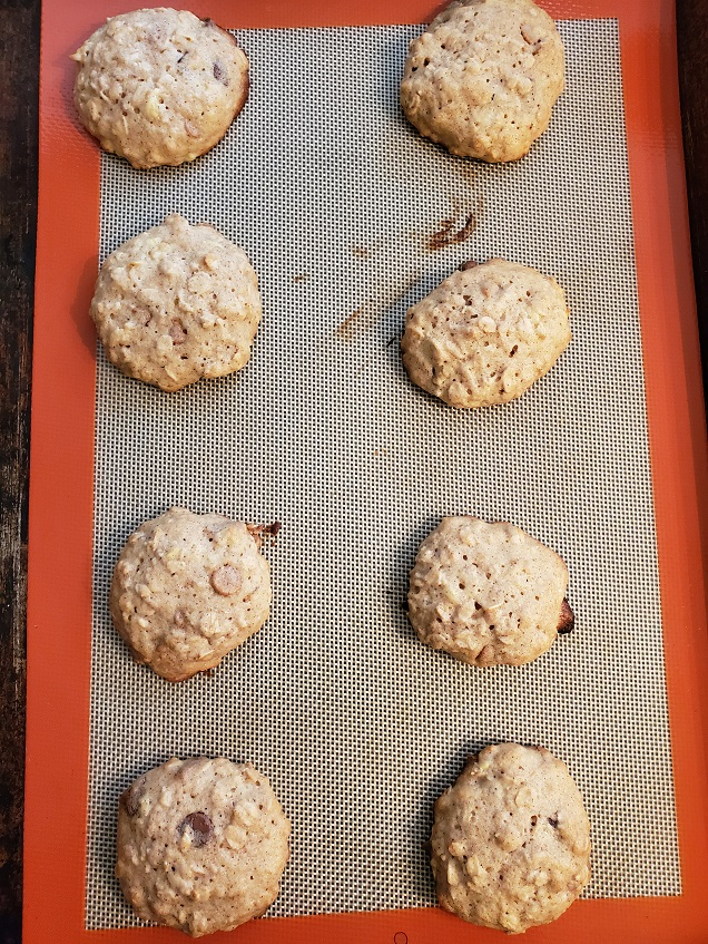 these are banana oatmeal cookies cooling on a silpat mat