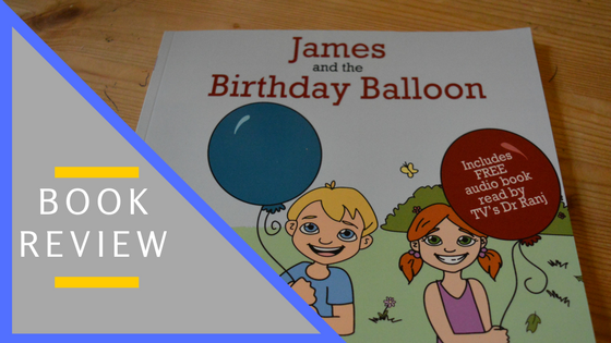 Book cover (two children and two ballons) with title 'Book Review'.