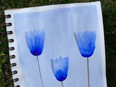 Three blue watercolour tulips