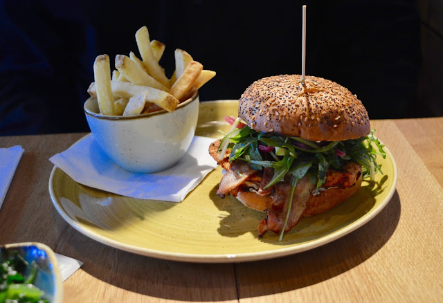 Harissa Chicken Burger and fries at Giraffe Southbank
