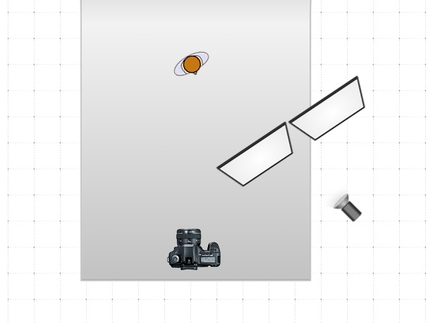 Схема с созданием щели для света с помощью двух панелей V-Flat