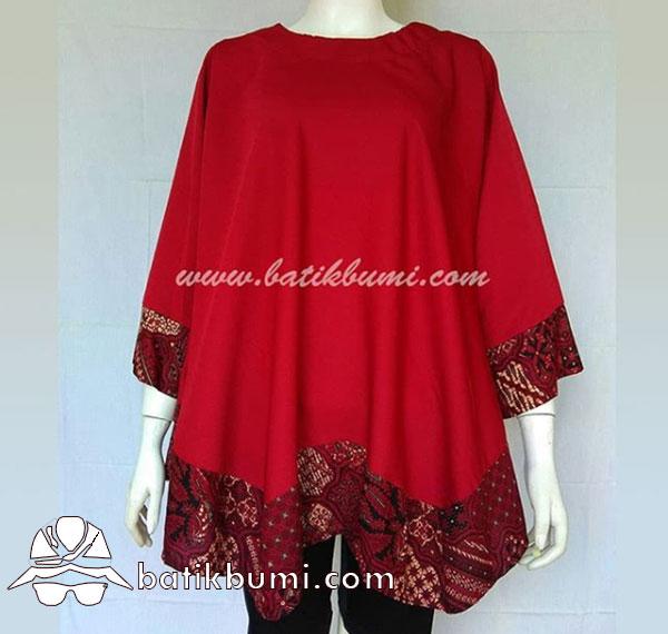Blus Batik Model Kelelawar Merah