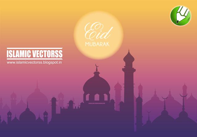 mi hayatul islam eid mubarak card background template cdr