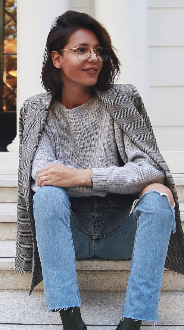 what to wear with a knit sweater : plaid blaze + jeans + boots