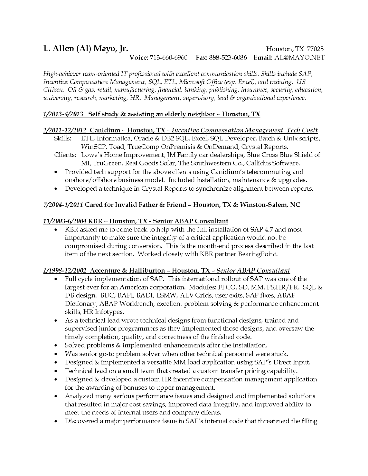Resume categories examples
