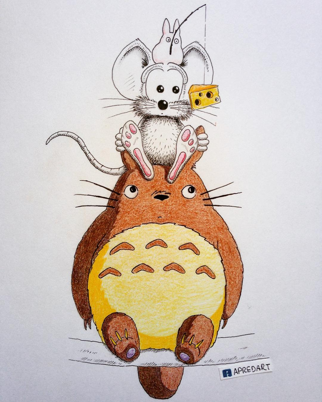 06-Totoro-Loïc-Apreda-apredart-Drawings-of-Rikiki-the-Mouse-and-his-Famous-Friends-www-designstack-co