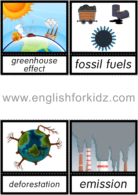 Printable global warming flashcards for English classes
