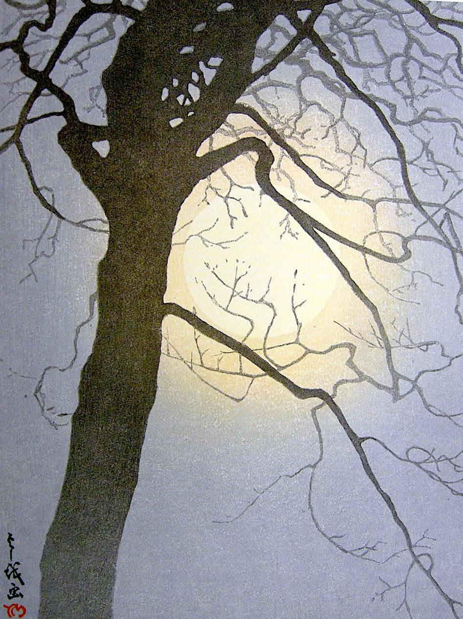 Yoshio Markino, a tree at night in silhouette 1930s