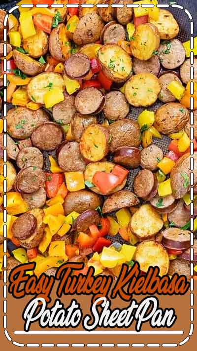 Easy Turkey Kielbasa Potato Sheet Pan dinner is a healthy, simple one pan meal that is ready in under 30 minutes! Easy to make and filled with veggies, this recipe is gluten free, grain free, paleo, Whole30 and kid approved! Serve it on busy weeknights, or prep it ahead during meal prep! #sheetpan #sheetpanmeal