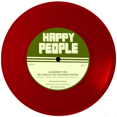 The vinyl single features a paper label with the name of imprint (Happy People), as well as the song title and name of the musical group.
