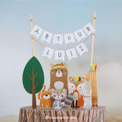 topo bolo animais bosque tribal